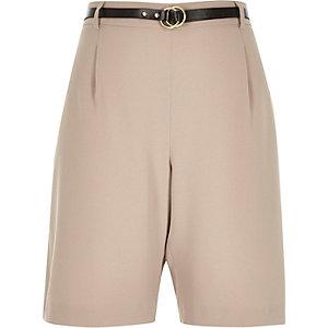 Beige smart belted city shorts