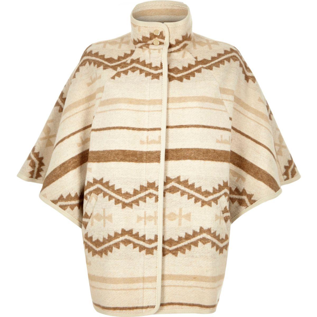 Cream geo pattern wool blend cape