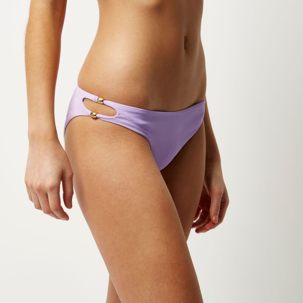 Purple knot low rise bikini bottoms