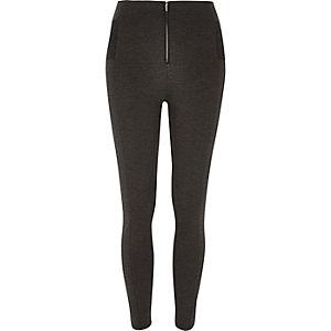 Grey marl zip up leggings