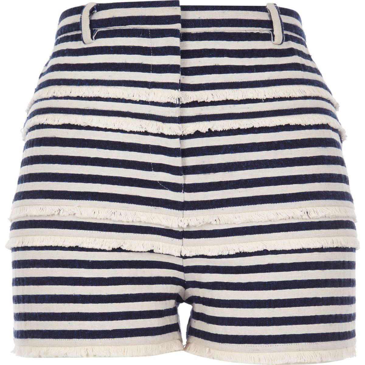 Marineblaue, hochgeschnittene Shorts mit Streifen