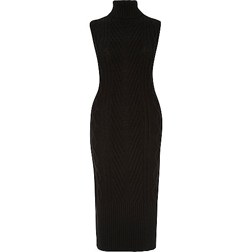Black cable knit tabard dress