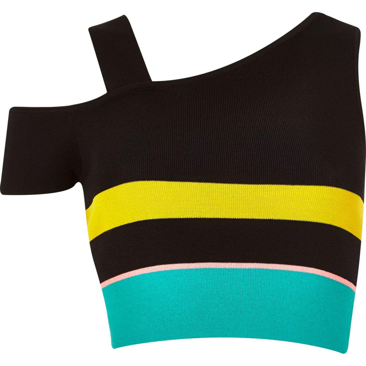 Black stripe knit asymmetric top