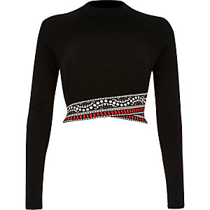 Black knitted cropped top