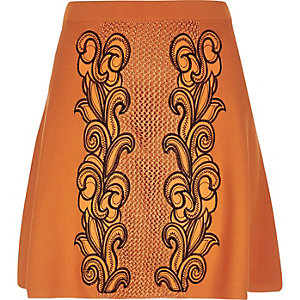 Orange knit embroidered skirt