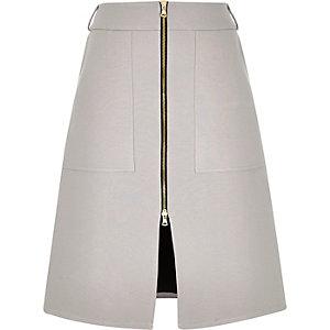 Light grey zip-up A-line midi skirt