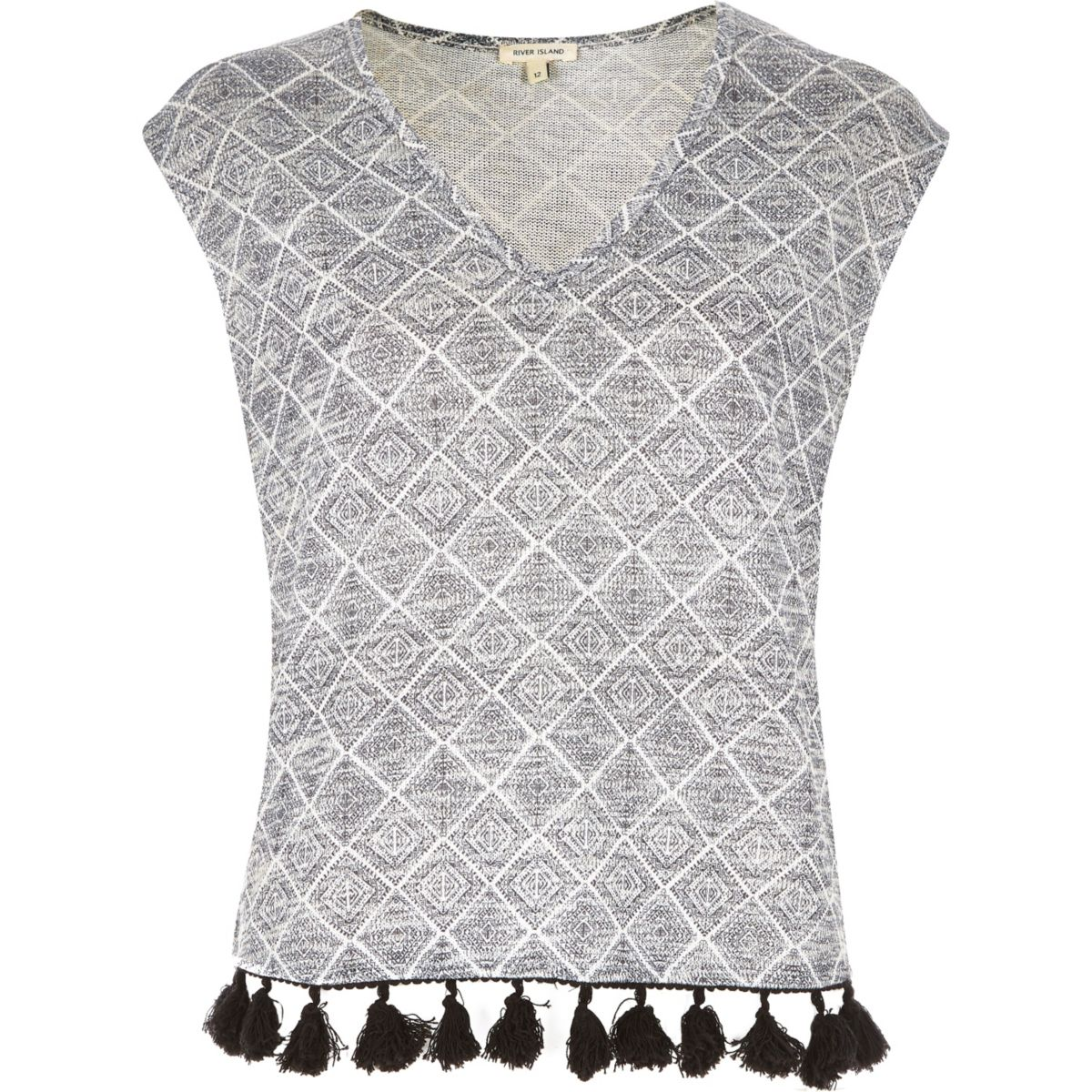 Grey geometric tassel hem top