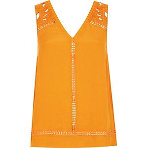 Orange embroidered tank top