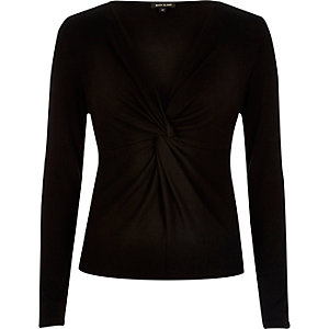 Black knot front long sleeve top