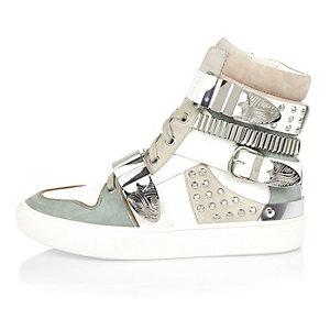 White leather buckle high top sneakers