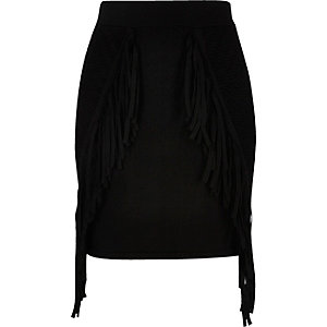 Black knit fringed mini skirt
