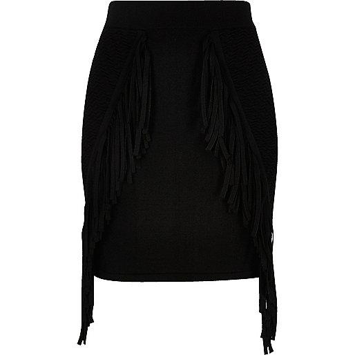 Black knit fringed mini skirt