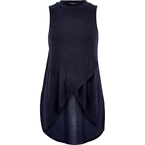 Blue knitted stepped hem top