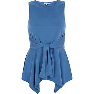 Blue knot front sleeveless top