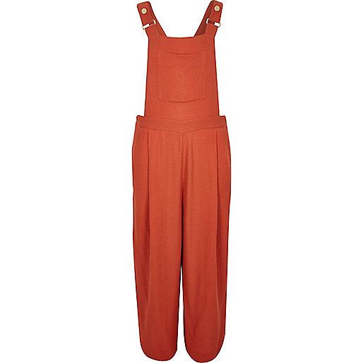 Orange textured culotte overalls