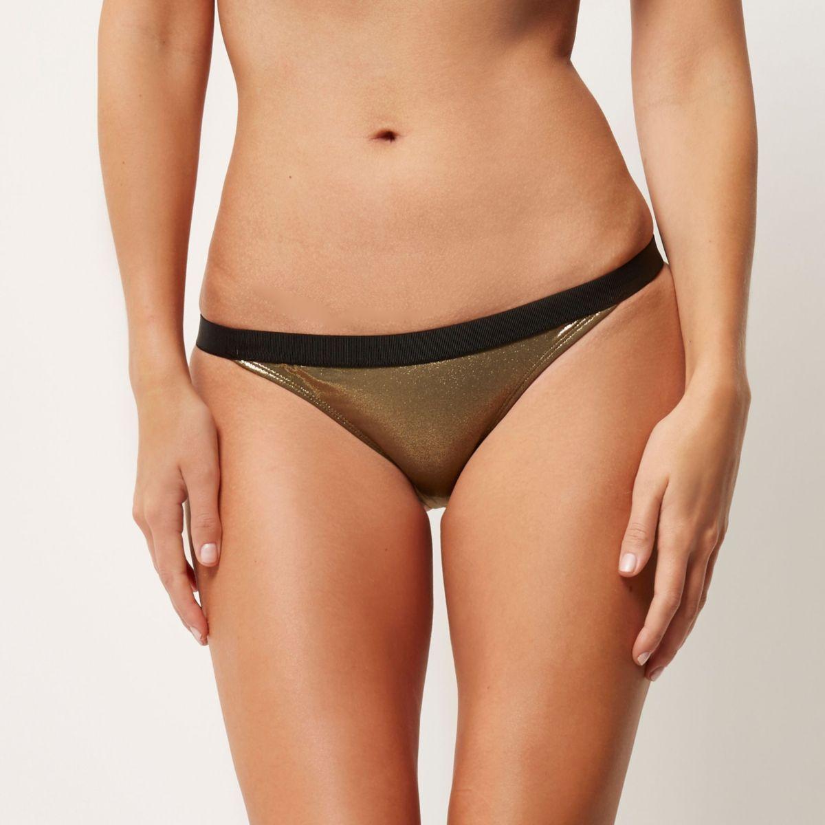 Gold metallic bikini bottoms