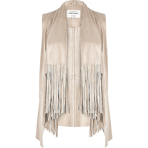 Stone faux suede fringed jacket