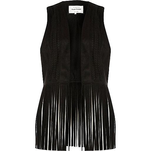 Black fringe faux suede vest