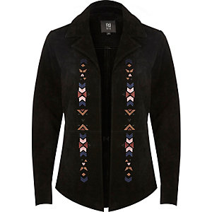 Black suede embroidered shirt