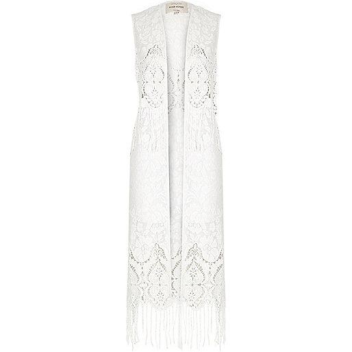 White lace tassel vest