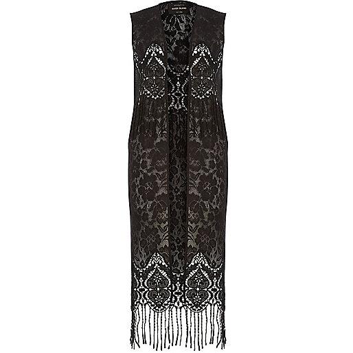 Black lace tassel vest