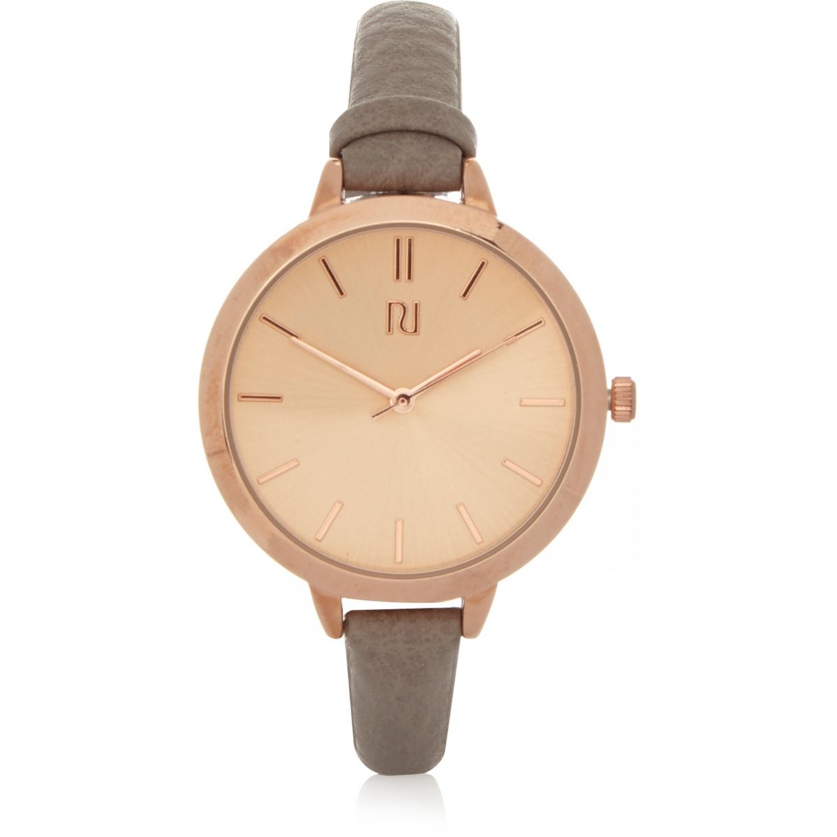 Grey skinny strap rose gold tone watch