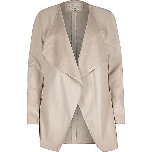 Cream leather look draped jacket