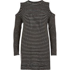 Black stripe cold shoulder top