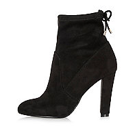 Black heeled sock boots