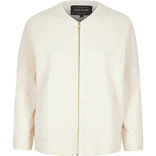 Cream jacquard jersey bomber jacket