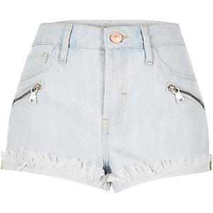 Light blue wash raw Ruby denim shorts