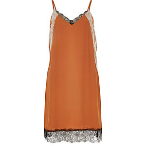 Rust brown lace slip dress