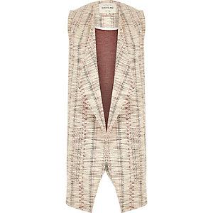 Red jacquard split back sleeveless jacket