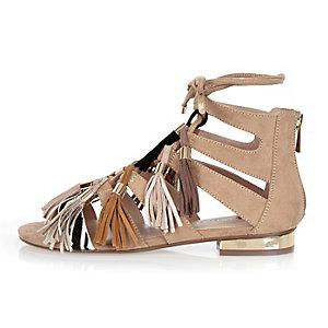 Nude tassel gladiator sandals