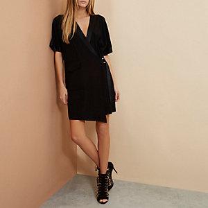 Black RI Studio minimal tux wrap dress