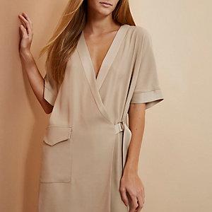 Beige RI Studio minimal tux wrap dress