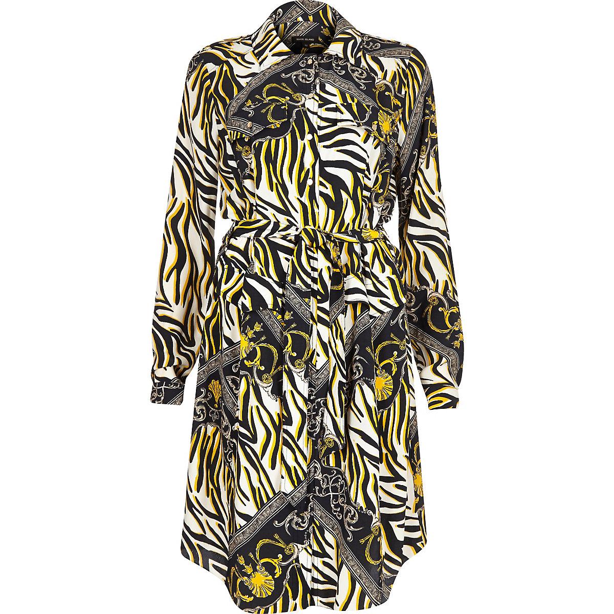 dfa2d82e2e Black zebra print shirt dress - T-Shirt Dresses - Dresses - women