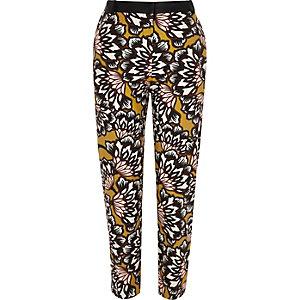 Pantalon cigarette en tissu à fleurs jaune