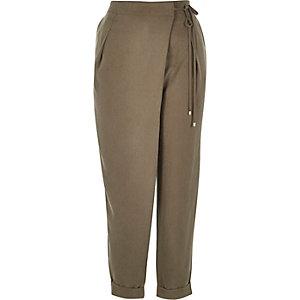 Khaki soft tie waist trousers