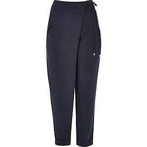 Dark blue soft tie waist trousers