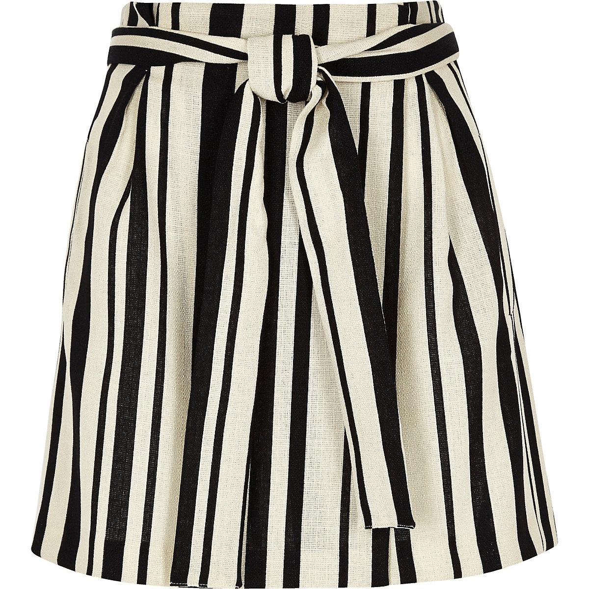 Black stripe wrap mini skirt
