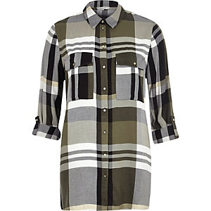 Khaki checked longline shirt