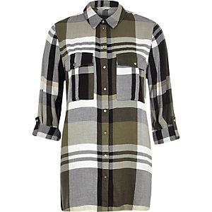 Chemise longue à carreaux kaki