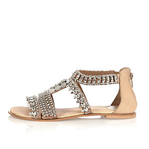 Nude leather embellished sandals