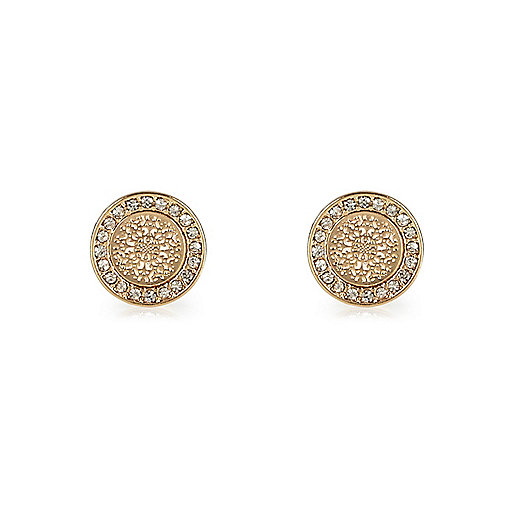 Gold tone filigree stud earrings
