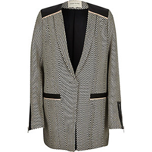 Grey herringbone long blazer