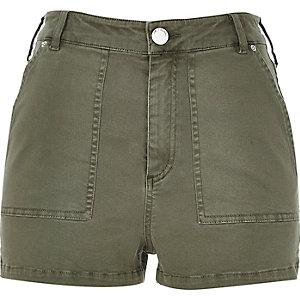 Khaki high rise shorts