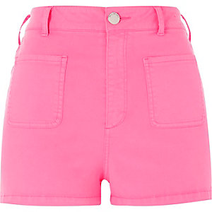 Fluro pink high rise shorts