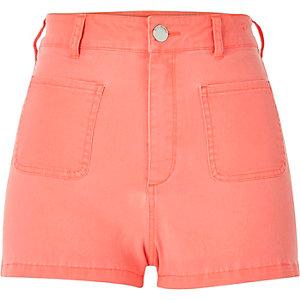 Orange high rise denim shorts
