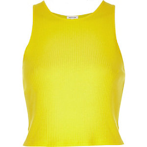 Yellow '90s ribbed crop top
